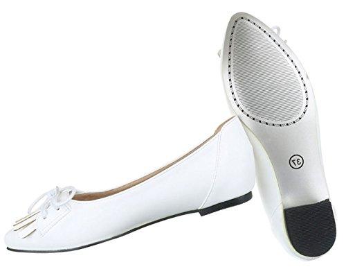 Damen Ballerinas Schuhe Loafers Slipper Slip-on Flats Schleifen Pumps Schwarz Weiß 36 37 38 39 40 41 Weiß