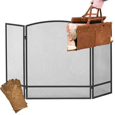 Panacea Arched Firescreen with Log Tote and Gloves Package