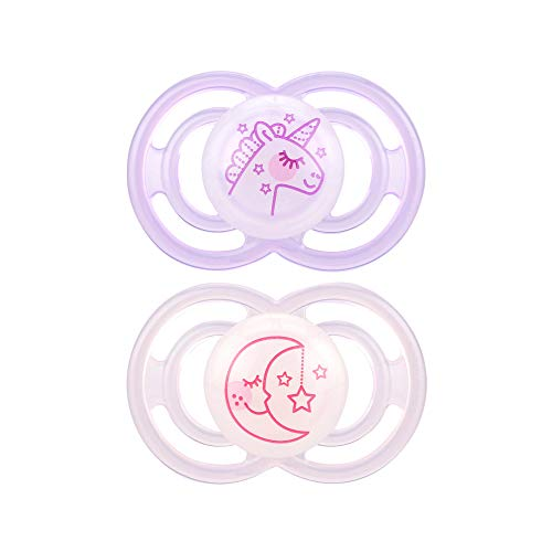 MAM Glow in The Dark Pacifiers, Baby Pacifier 6+ Months, Best Pacifier for Breastfed Babies, Premium Comfort and Oral Care Perfect Collection, Girl, 2-Count