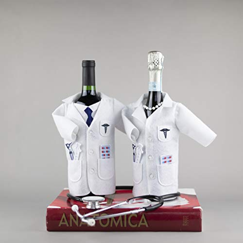 White Coat Wine Bag for Doctors – Felt Wine Gift Bag with Otoscope, Syringe, Capsules, Tie | Doctors Wine Cover Gifts…