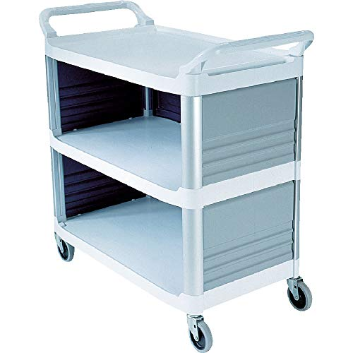 Rubbermaid Commercial Products 3 Shelf - Rubbermaid Commercial Xtra Utility Cart with Enclosed End Panels, White, FG409300OWHT