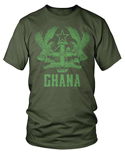 Amdesco Men's Coat of Arms of Ghana, Ghanaian Coat of Arms T-Shirt, Moss Green -