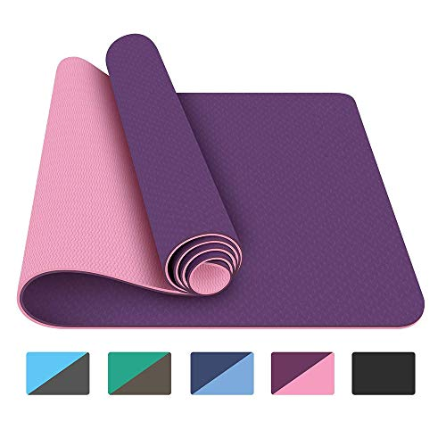 SYSHAN Yoga Mat Non Slip TPE Yoga Mats Exercise Mat Eco Friendly Workout Mat for Yoga, Pilates and Fitness, 1/4 inch…