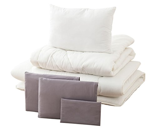 (EMOOR 6-Piece All-in-One Japanese Futon Set Leben, Twin-Long Size (Gray))