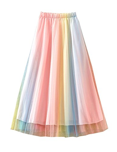 Yimoon Women's Elastic Waist Colourful Tiered Layered Mesh Ballet Prom Party Tulle Tutu A-Line Midi Skirt (Rainbow, One Size)
