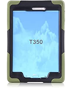 Samsung Galaxy Tab A T350 8inch Dust ShockProof Rubber Heavy Duty Hard Case Cover Military Green