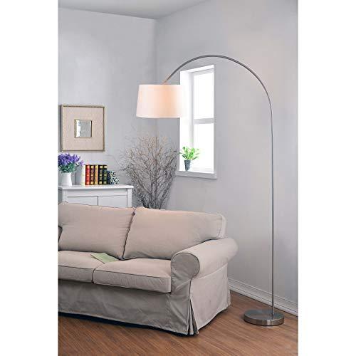 Silver Arc Floor Lamp Standing Arching Light Fixture Indoor Living Room Decor Lighting Drum Shaped Shade Steel Base, Metal ()