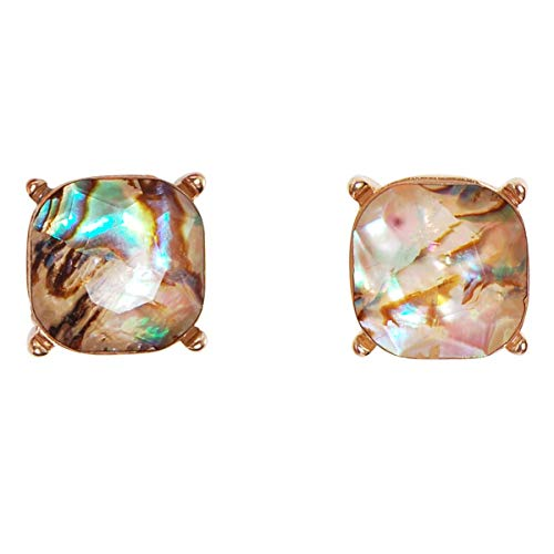Humble Chic Faceted Sea Shell Square Stud Earrings Cushion Cut Statement Post Ear Studs, Simulated Abalone, Simulated Labradorite, Brown, Green, Gold-Tone