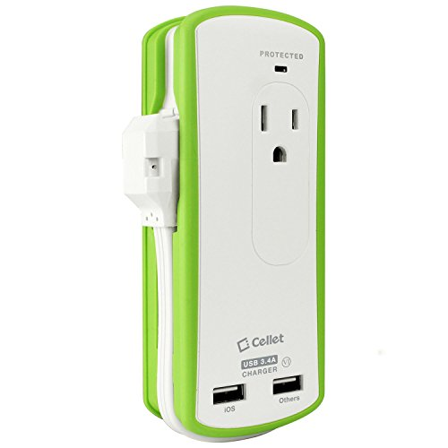 Cellet 2 110Volt Outlet with Portable Mini Travel Surge Protector and Fast Charging, 2 USB Ports (3.4Amp or 17 Watt) with Wrapped cord design Power Strip [UL Listed, DOE6 LEVEL VI Certified] by Cellet