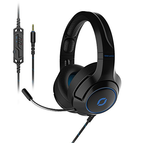 Over-ear PC Gaming Headsets with Retractable Noise-canceling Mic | 3.5mm Deep Bass Stereo Headphones with In-line Control for Laptop/ Mobile/ PS4/ New Xbox One/Nintendo Switch| Rokerworld R1018 Black