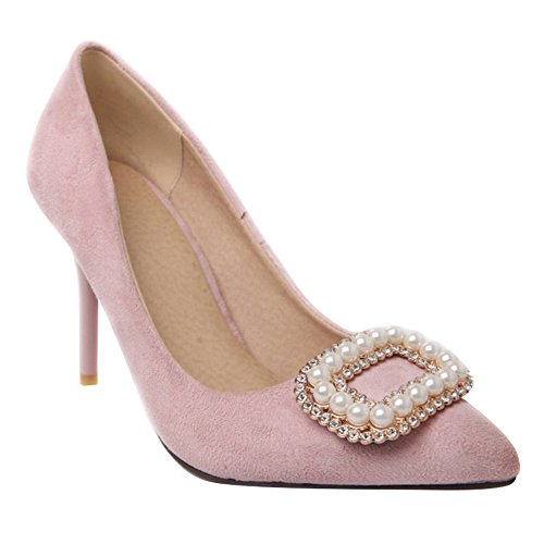 Carol Shoes Women's Western Elegant High Heel Beaded Rhinestones Court Shoes Pink