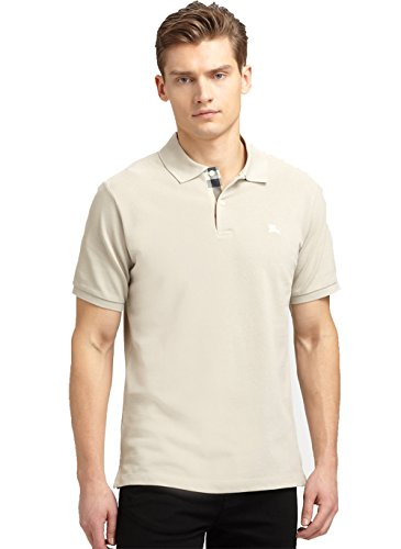 Burberry Brit Mens Short Sleeve Nova Check Placket Polo Shirt (Medium, Trench - Trench Burberry Mens