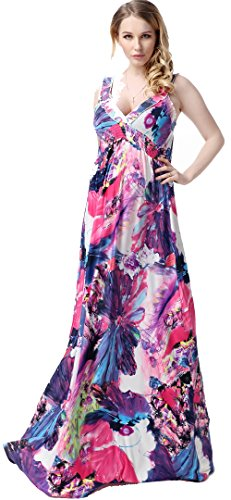 UPC 606993507030, Jusfitsu Women's Deap V-neck Printted Sexy Maxi Dress Evening Gown Plus Size 7XL