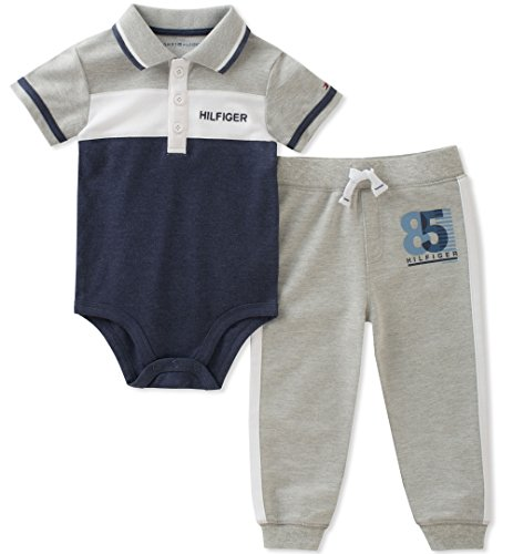 Tommy Hilfiger Baby Boys 2 Pieces Creeper Pants Set, Gray/Navy, 3-6 Months (Tommy Hilfiger Boy 4)