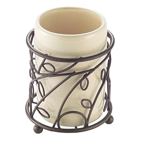 - interDesign 76591 Twigz Bath, Tumbler Cup for Bathroom Vanity Countertops - Vanilla/Bronze