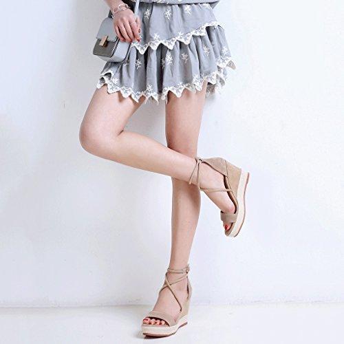 Sandali Con Zeppa Estivi Open Toe Tacco Elastico Tacco Alto Scarpe Da Donna Eleganti Piattaforma (colore: Beige, Misura: 39) Beige