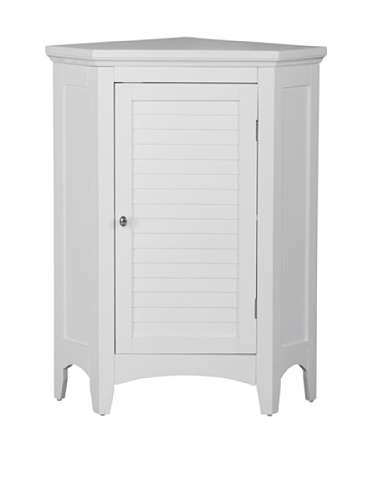 Elegant Home Fashions Slone 1-Door Corner Floor Cabinet in White