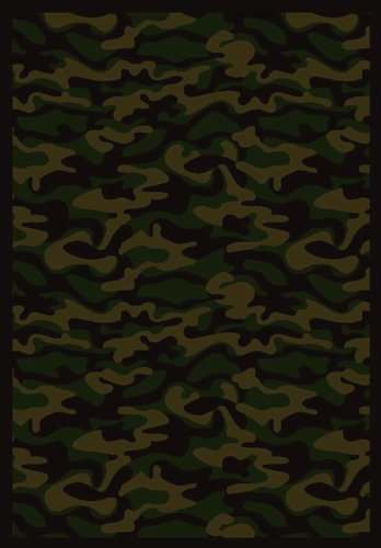 (Joy Carpets Kaleidoscope Funky Camo Whimsical Area Rugs, 64-Inch by 92-Inch by 0.36-Inch, Dark Army )