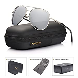 LUENX Aviator Sunglasses Mens Womens Polarized Mirror - Silver Lens Silver Metal Frame 60mm - UV 400 Protection with Case