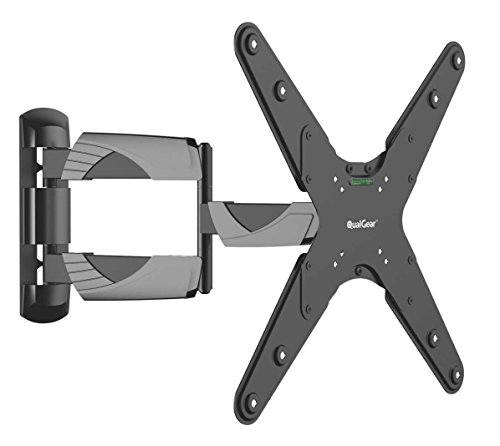 QualGear QG-TM-A-012 Universal Ultra Slim Low Profile Articulating Wall Mount for 23-55 Inches LED TVs, Black [UL Listed] (Renewed)