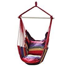 Hanging Rope Hammock Chair Swing Seat, Portable Porch Net Chair for Indoor/Outdoor Yard Camping, with Stand 2 Cushions and Carry Bag (Rainbow)