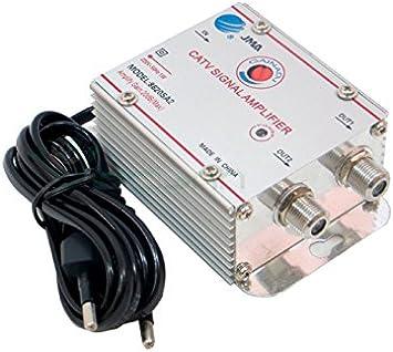 Amplificador señal antena TV digital terrestre vía cable 2 salidas +20dB