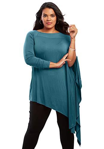 Asymmetric Tunic - Roamans Women's Plus Size Asymmetric Drape Ultra Tunic - Evening Cloud, 14/16