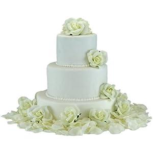 Ivory Silk Rose Cake Flowers - Reception Decoration 40