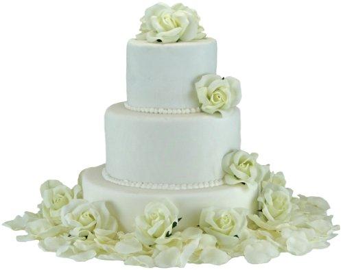 (Ivory Silk Rose Cake Flowers - Reception Decoration)