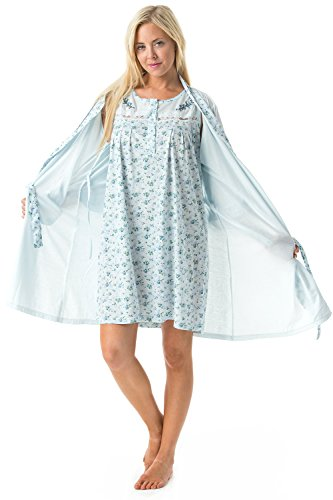 (Casual Nights Women's Sleepwear 2 Piece Nightgown and Robe Set - Blue - XX-Large)