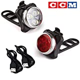 CCM Rechargeable LED Bike Light Set,Headlight Taillight Combinations,Includes Front and Rear Bicycle Light