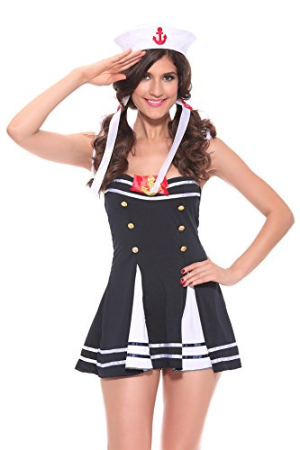 [Women's Sexy Uniforms Temptation Cosplay Halloween Costume of Schoolgirl Sailor Seaman] (Bulma Costume)