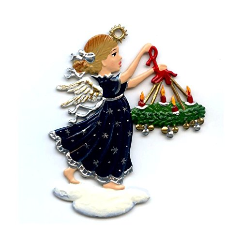 Angel With Wreath- German Pewter Christmas Ornament