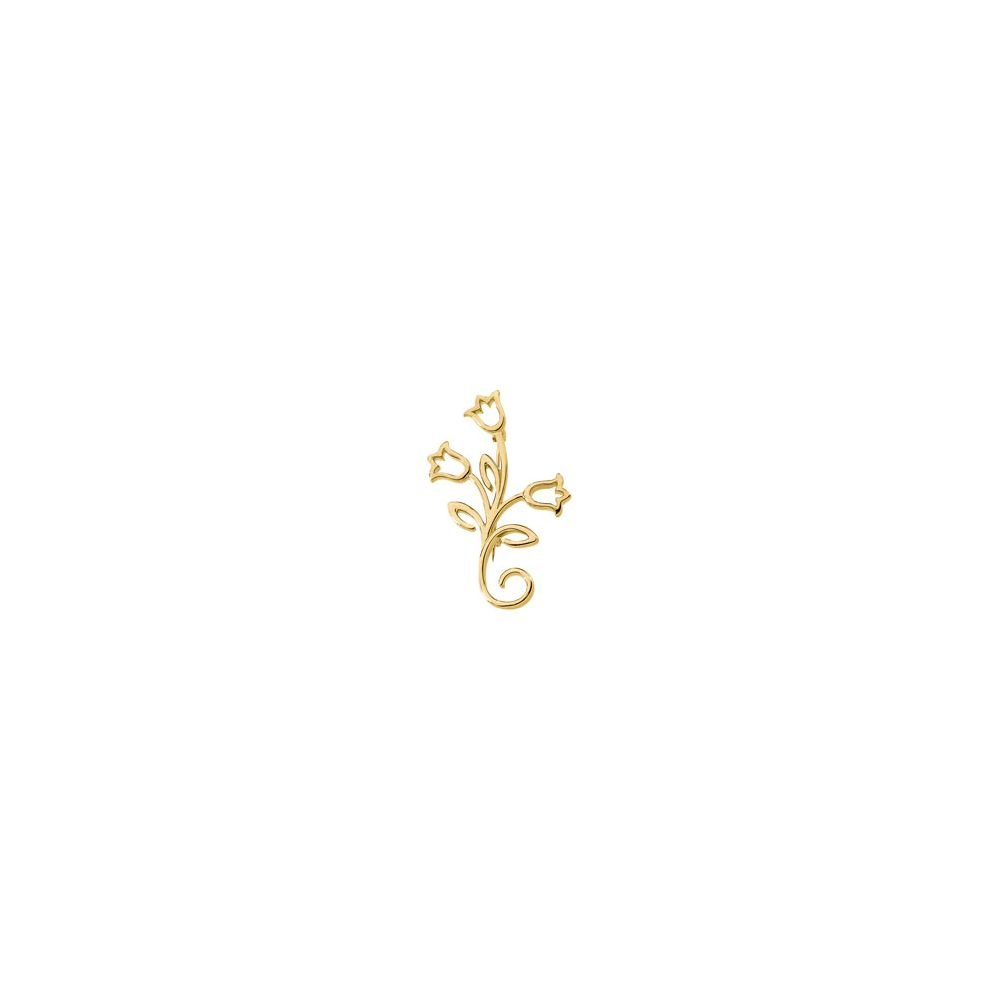 18k Yellow Gold 41 x 23.75mm Flower Polished Brooch
