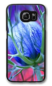 Blue Flowers Thorns Polycarbonate Hard Case Cover for Samsung S6/Samsung Galaxy S6 Black
