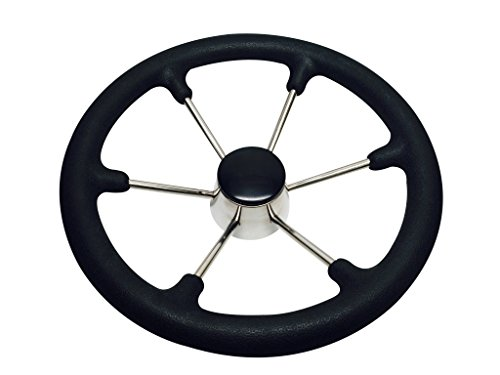 Pactrade Marine Boat SS304 Steering Wheel with Sleeve 6 Spoke, Black by Pactrade Marine