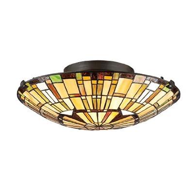 "Quoizel TF1408SVB Tiffany Flush Mount Ceiling Lighting, 2-Light, 150 Watts, Vintage Bronze (6"" H x 17"" W"