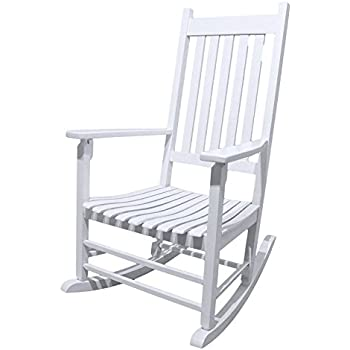Caymus White Solid Hardwood Outdoor Rocking Chair Country Plantation Porch  Rocker Provide Comfortable Seating On Patio