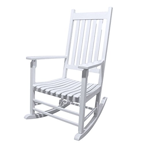 Wood Rocker Porch (Caymus White Solid Hardwood Outdoor Rocking Chair Country Plantation Porch Rocker Provide Comfortable Seating on Patio or Deck)
