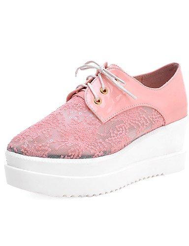 ZQ Zapatos de mujer - Plataforma - Creepers / Punta Redonda / Punta Cerrada / Tira en el Tobillo - Oxfords -Exterior / Oficina y Trabajo / , white-us9 / eu40 / uk7 / cn41 , white-us9 / eu40 / uk7 / cn black-us5.5 / eu36 / uk3.5 / cn35