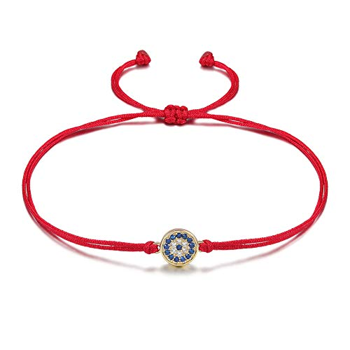 JINBAOYING Hamsa Evil Eye Bracelet with Cubic Zirconia String Kabbalah Adjustable Bracelet Handmade Charm Bracelets for Women Men Girls Boys (Evil Eye Red Bracelet) ()