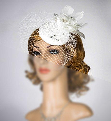 White Birdcage Veil Headband Russian Veiling Veil Fascinator Simple Fascinator With Veil Bridal Headpiece by bride N wedding