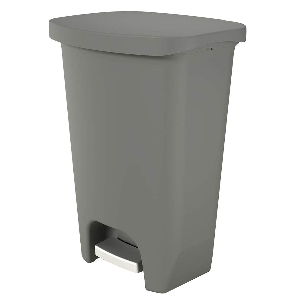GLAD GLD-74054 Plastic Step Trash Can with Clorox Odor Protection of The Lid | 13 Gallon, Matte Gray, 52 Liter