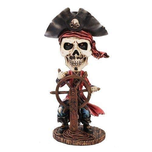 Figurine Day of The Dead Caribbean Pirate Ship Captain Skeleton Skull ()
