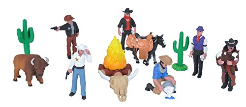 Wild Republic Figurines Tube, Cowboy Action Figures, Ten Piece West Set Kids Toys, Gifts for Boys, Wild West Figurines Tube -