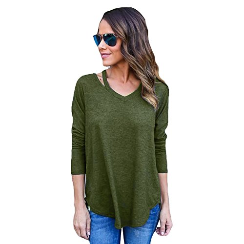 [FWQ Women V Collar Sweater Knitted Coat Bottoming Shirt (S, Army Green)] (Cute Army Girl Halloween Costumes)