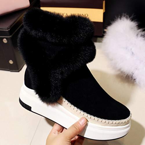Negro Invierno Gamuza La De Plataforma Botas Calientes Para Zapatos Yan Negros Nieve Botines Mujer Plana x4I604a