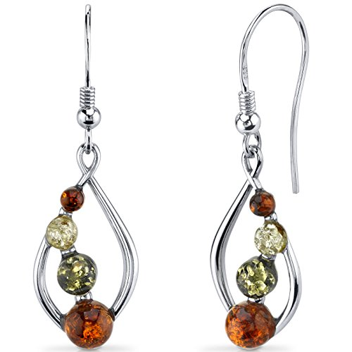 Baltic Amber Open Leaf Earrings Sterling Silver Multiple Colors