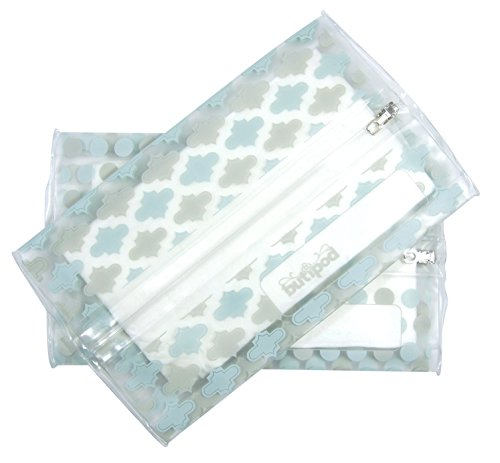 Buti-pods Wipes Case (aquamarine blue grey tiles & dots)
