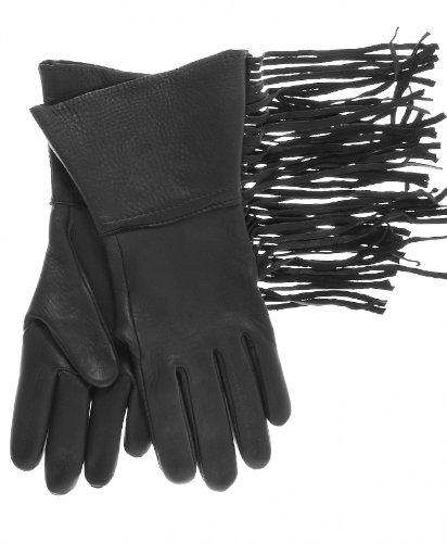 Geier Glove Men's Lined Western Fringe Deerskin Gauntlets Size 7 Color Black